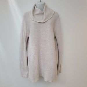 Loft Cream Cotton Blend Cowl Neck Tunic Sweater L
